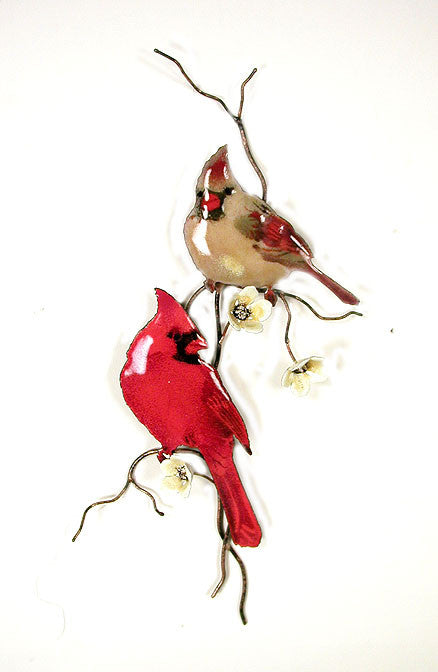 Cardinals (2) on Branch with Yellow Flowers Wall Art by Bovano Cheshire