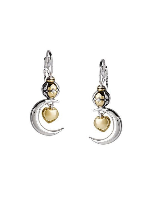 Moon and Heart Leverback Earrings by John Medeiros