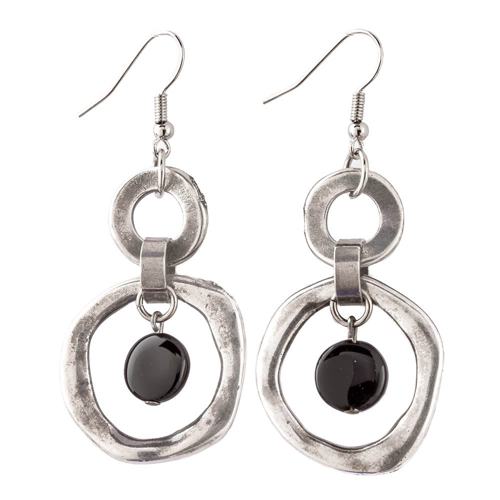 Black Glass Drop Earrings