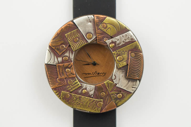Mosaic Design Mix Brass, Copper and Silver in Silicon Band Watch