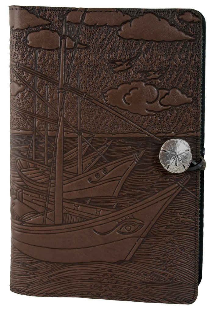 Small Leather Journal - Van Gogh Boats in Chocolate