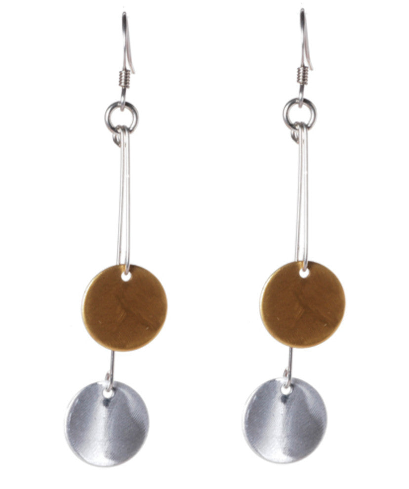 Mixed Metal Double Dots On Sticks Earrings