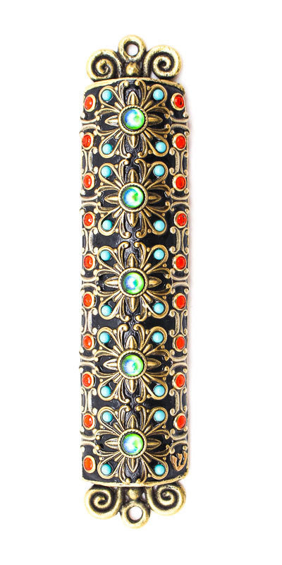 Gold and Turquoise Mezuzah by Michal Golan