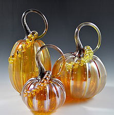 Hand Blown Glass Large Pumpkin in Iridescent Gold
