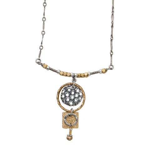 Mixed Up Metals B Necklace by JoLa Collage