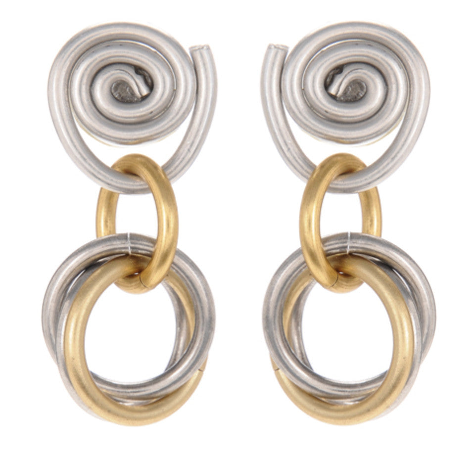 Mix Metal Small Loops Spiral Post Earrings