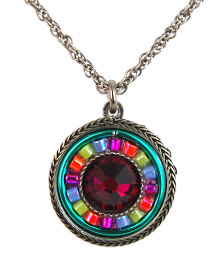 Multi Color La Docle Vita Round Pendant by Firefly Jewelry