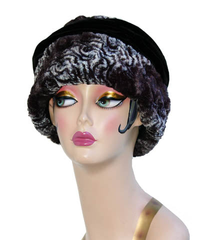 Smoky Essence With Black Velvet Luxury Faux Fur Ana Cloche Style Hat