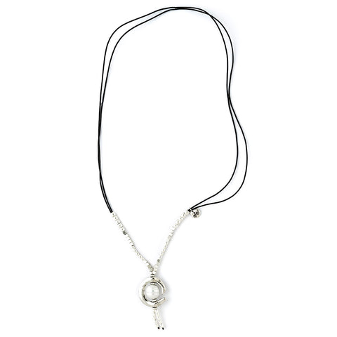 Moon Pearl Leather Necklace