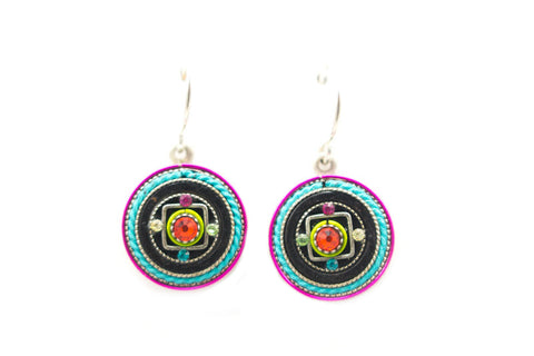 Multi Color Medium Round Earrings by Firefly Jewelry