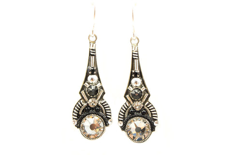 Black and White Art Deco Drop Earrings by Firefly Jewelry