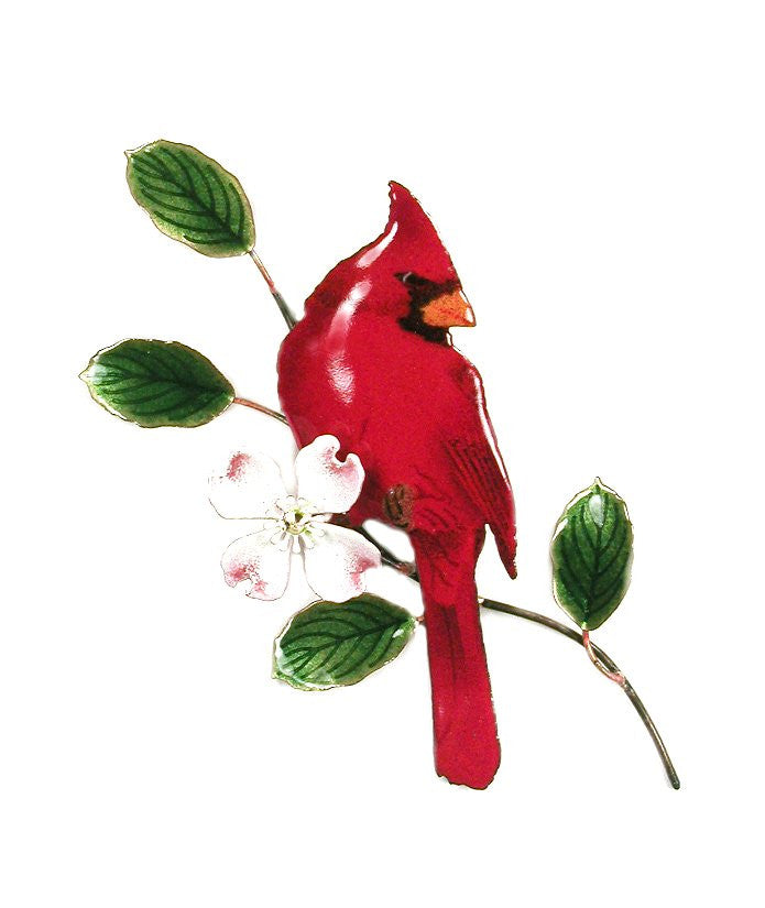 Male Cardinal on Dogwood Wall Art by Bovano Cheshire