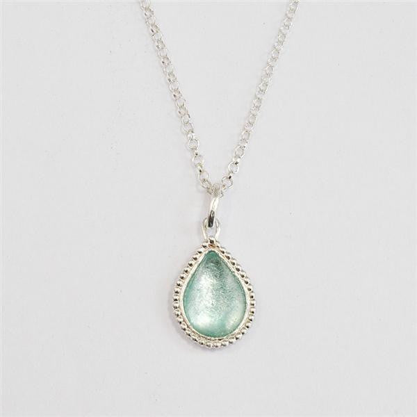 Beaded Edge Teardrop Washed Roman Glass Necklace