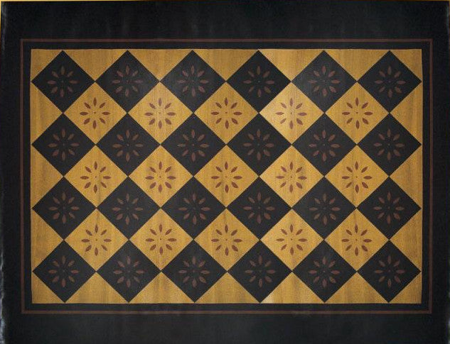 "Diamond with Starburst Floorcloth with Border in Antique - Size 48"" x 60"""