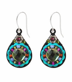 Multi Color Mirrored Circle Drop Earrings by Firefly Jewelry