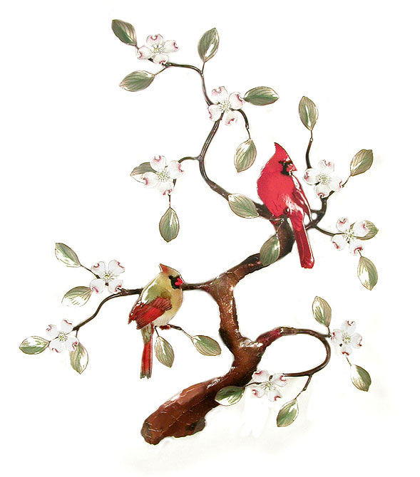 Cardinals (2) in Dogwood Tree Wall Art by Bovano Cheshire