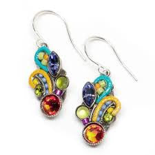 Multi Color Fleur Mosaic Earrings by Firefly Jewelry