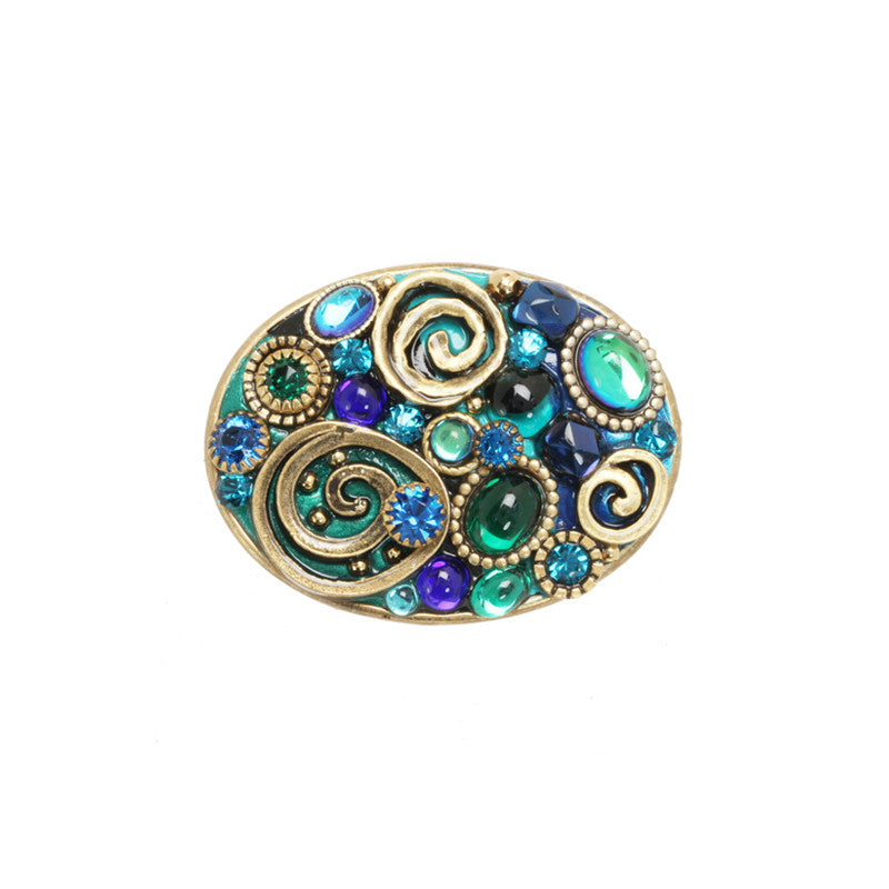 Emerald Oval Pin by Michal Golan