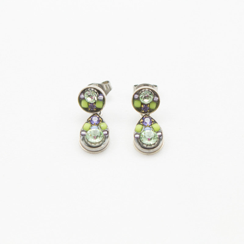 Chrysolite Sparkling Drop Post Earrings by Firefly Jewelry