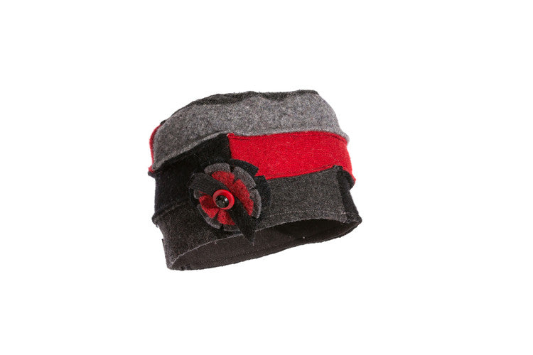 Wool Cloche Hat in Red, Black and Grey