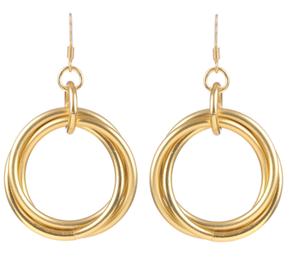 Gold Medium Triple Loop Earrings