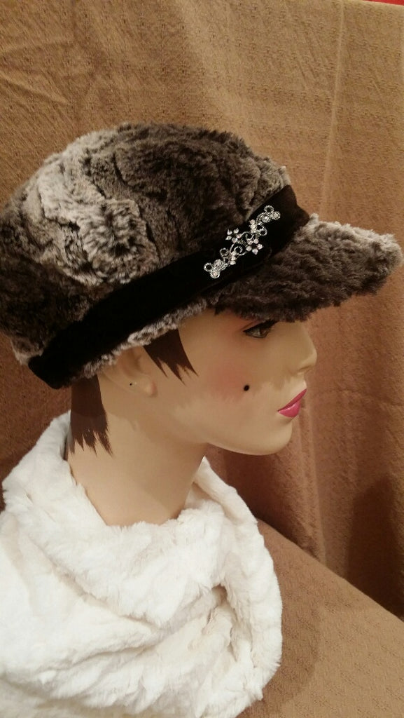 Brown Chinchilla Luxury Faux Fur Valerie Hat with Brooch P: Size Medium