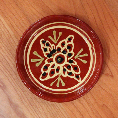 Redware Coaster with Flower