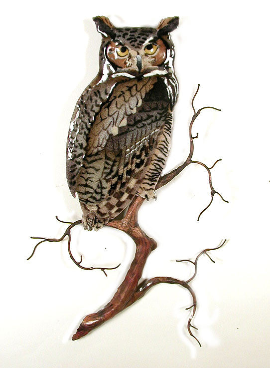Great Horned Owl on Branch Wall Art by Bovano Cheshire