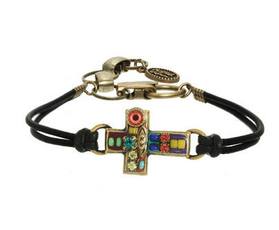 Multicolor Crystal Cross Leather Bracelet by Michal Golan
