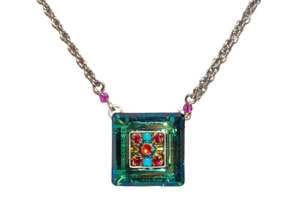 Multi Color La Dolce Vita Mosaic Square Pendant by Firefly Jewelry