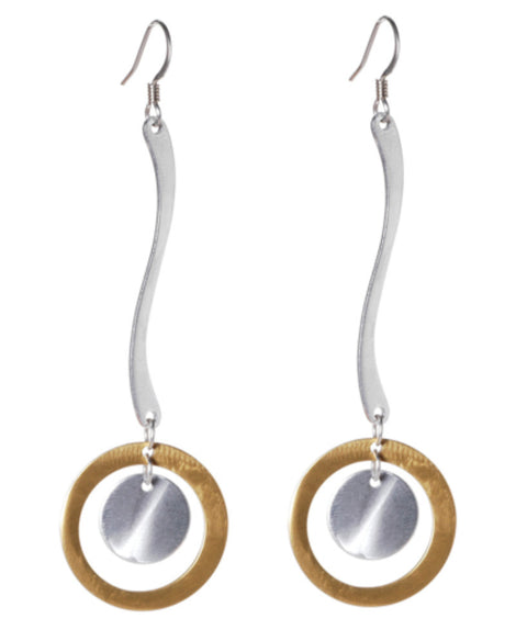 Mix Metal Long Curve with Open Disc and Solid Disc Drop Earrings