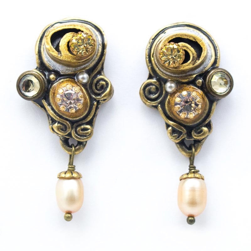Champagne Swirl Dangle Post Clip Earrings by Michal Golan