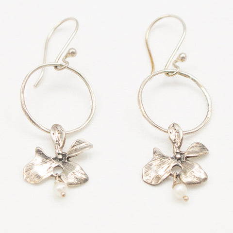 Sterling Silver Flower Earrings with Pearl Drop