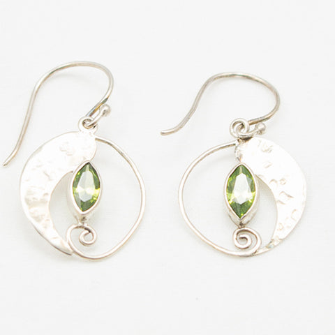 Sterling Silver Part Hammered Dangle with Peridot Marquise Cut Earrings