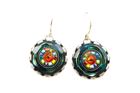 Multi Color Button Earrings by Firefly Jewelry