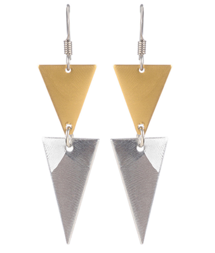 Earrings Graduated Double Triangle
