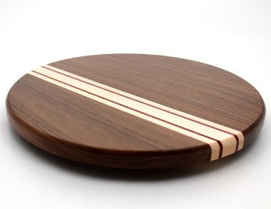 Lazy Susan with Stripes in Walnut - Size 14""