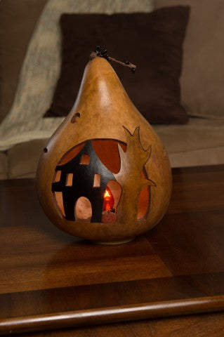 Haunted House Silhouette Gourd #2