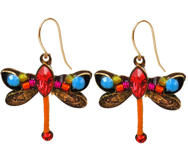Tangerine Petite Dragonfly Earrings by Firefly Jewelry