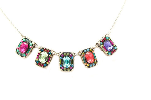 Multi Color Petite Crystal Necklace by Firefly Jewelry