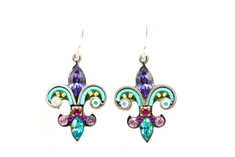 Tanzanite Fleur de Lys Earrings by Firefly Jewelry