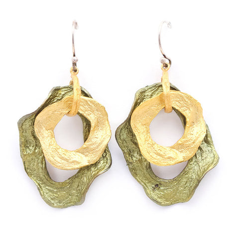 Curly Pod Gold and Patina Earrings