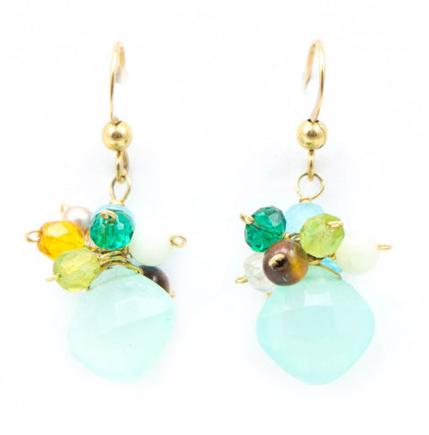 Cluster Chalcedony Earrings by Anna Balkan