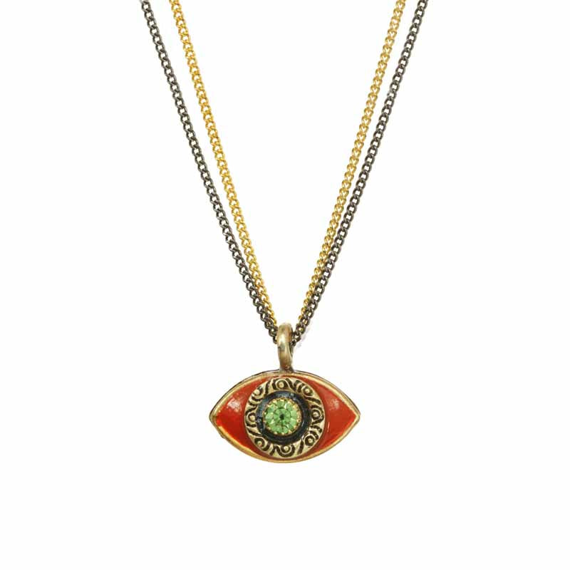 Coral Green Eye on Two Chains Necklace