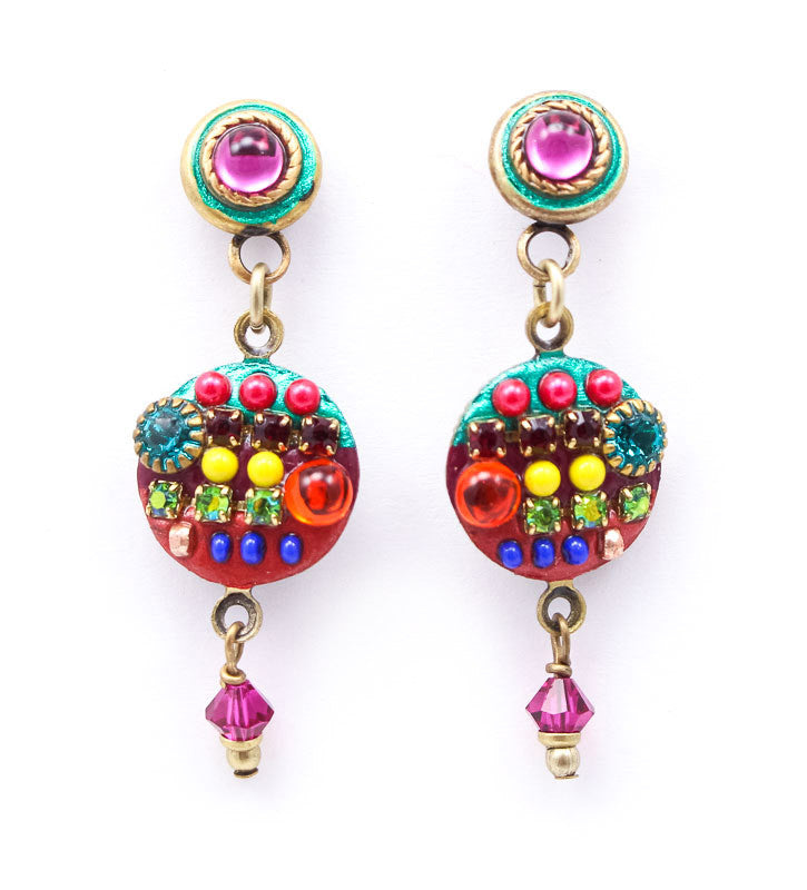 Multi Bright Round Dangle Earrings by Michal Golan