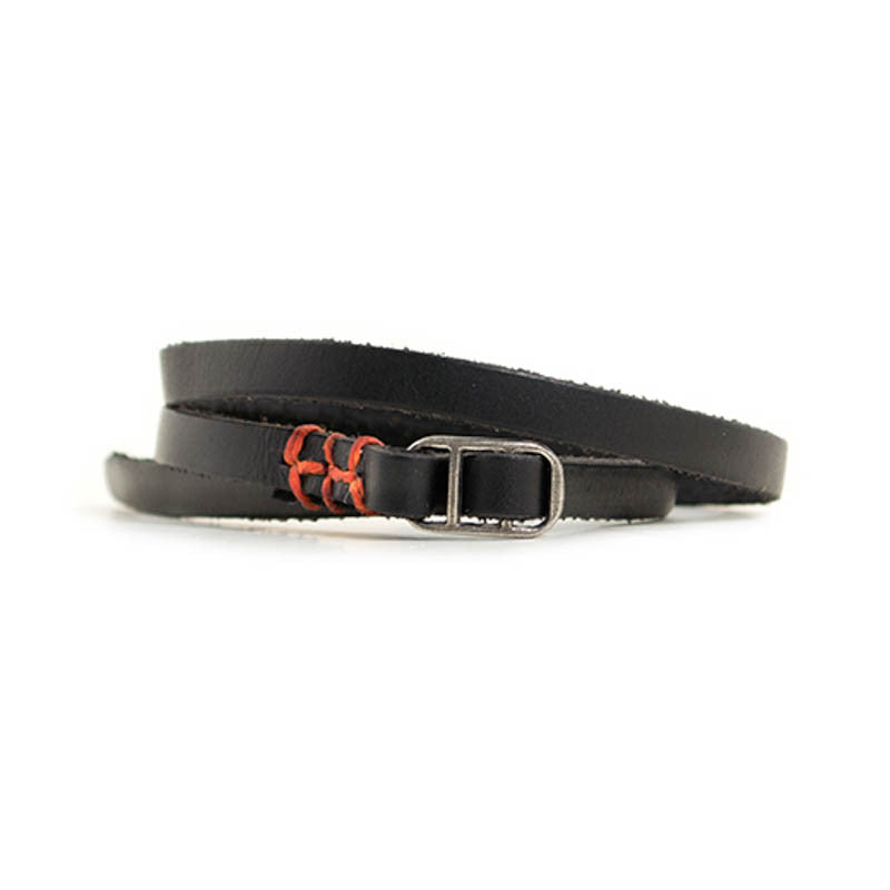 Leather Indie Wristband in Black with Orange Thread