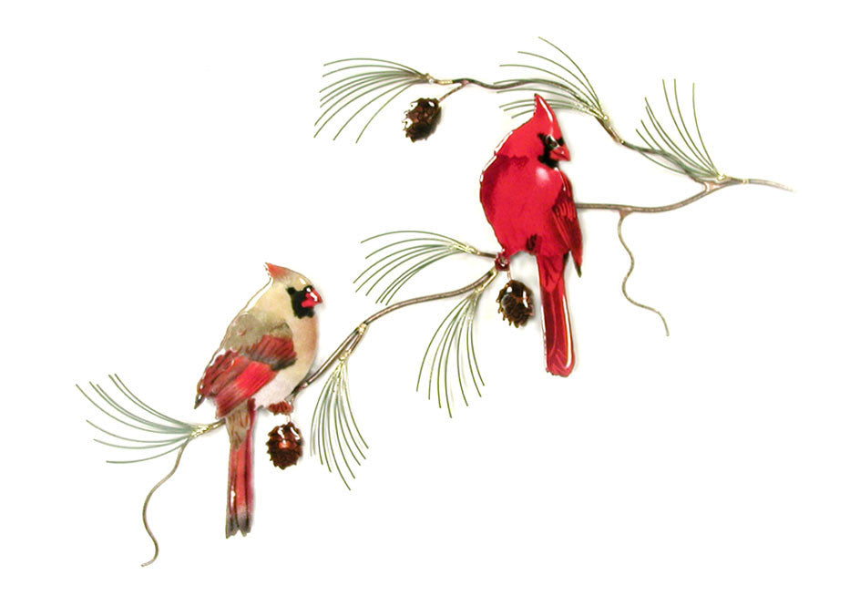 Cardinal Pair on Pine Wall Art by Bovano Cheshire