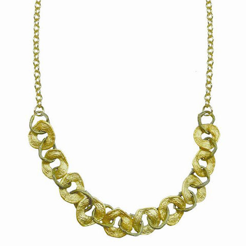 Curly Pod Gold and Patina 16 Inch Necklace