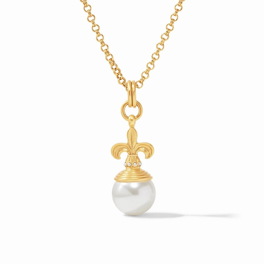 Fleur-de-Lis Pearl Pendant Shell Pearl w/ Fresh Water Pearl accents By Julie Vos