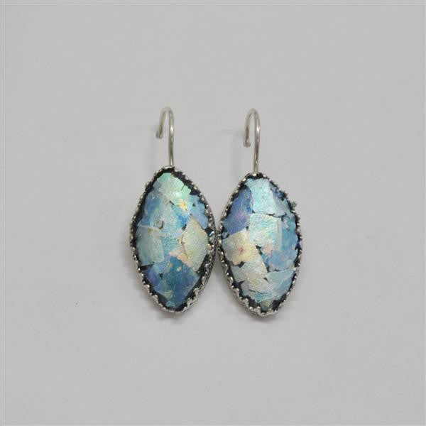 Lace Edge Marquise Patina Roman Glass Earrings